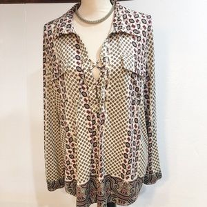 BCBG Maxazria ladies XL lace up blouse NWOT